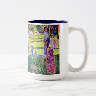 The Couple by Georges Seurat, Vintage Pointillism Two-Tone Coffee Mug