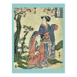 The couple looking at the moon by Utagawa,Toyokuni Postcard