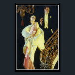 """The Couple Poster<br><div class=""""desc"""">J. C. Leyendecker 1932 painting of a glamorous couple walking down a grand staircase  dressed to the nines in evening attire.</div>"""