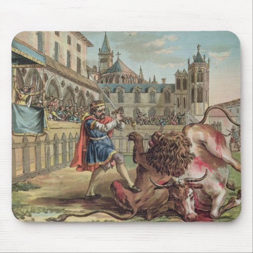 The Courage of Pepin (714-68), engraved by Jean Ba Mouse Pad