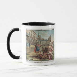 The Courage of Pepin (714-68), engraved by Jean Ba Mug