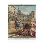 The Courage of Pepin (714-68), engraved by Jean Ba Postcard