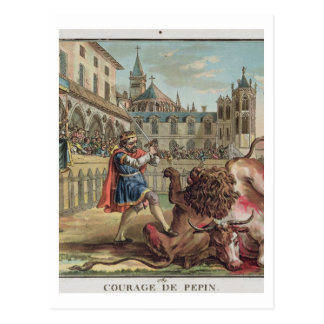 The Courage of Pepin (714-68), engraved by Jean Ba Postcards