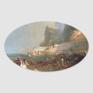 The Course of Empire: Destruction by Thomas Cole Oval Sticker