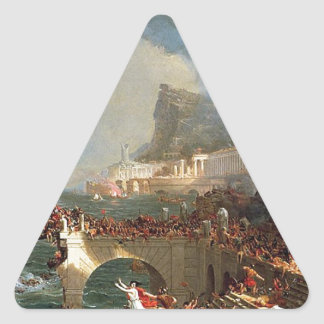 The Course of Empire: Destruction by Thomas Cole Triangle Sticker