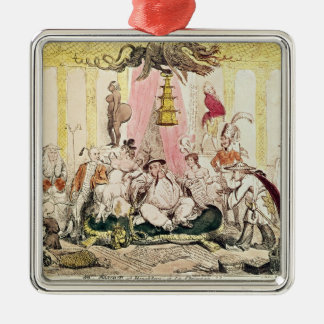The Court at Brighton a la Chinese, 1816 Square Metal Christmas Ornament