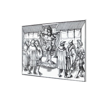 The Court of a Baron, after a woodcut in 'Cosmogra Canvas Print