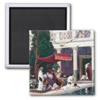 The Court of a Roman House 2 Inch Square Magnet