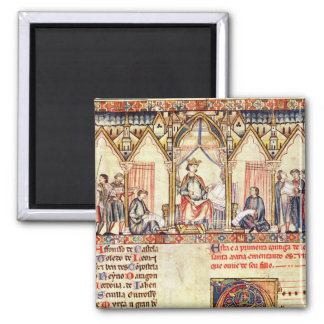 The court of Alfonso X  'the Wise' 2 Inch Square Magnet