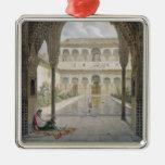 The Court of the Alberca in the Alhambra, Granada, Square Metal Christmas Ornament