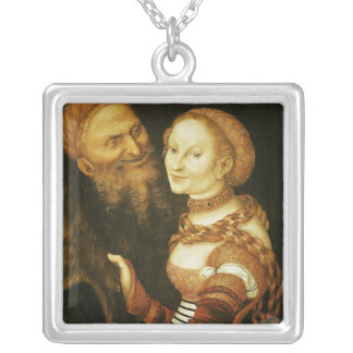 The Courtesan and the Old Man, c.1530 Silver Plated Necklace