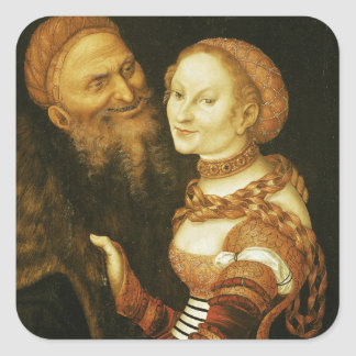 The Courtesan and the Old Man, c.1530 Square Sticker