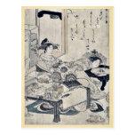 The courtesan Chozan of Choji ya by Santo, Kyoden Postcard