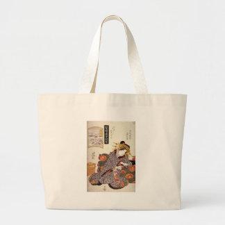 The Courtesan Kaoru of Owariya matched with Okitsu Large Tote Bag