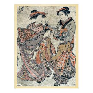 The courtesan Manyō in Yoshiwara by Torii,Kiyonaga Postcard