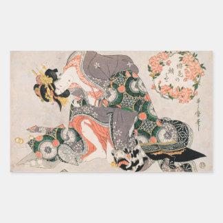 The Courtesan with cat  Kitagawa Utamaro geisha Rectangle Stickers