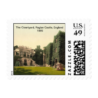 The Courtyard, Raglan Castle, England 1905 Postage