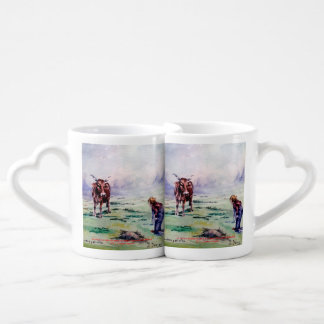 The cow and the boy/The cow and the I go Couples Coffee Mug