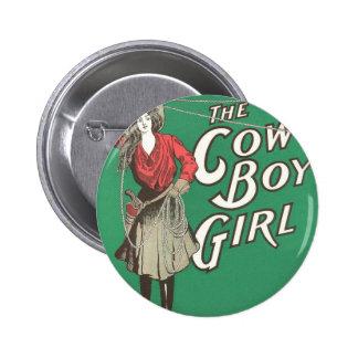 The Cow Boy Girl - Vintage Pinback Button