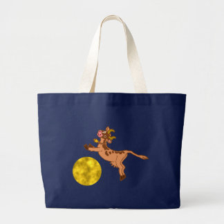 the cow jumped more over the moon… large tote bag