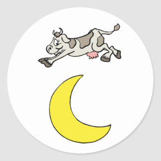 The Cow Jumped Over The Moon Classic Round Sticker