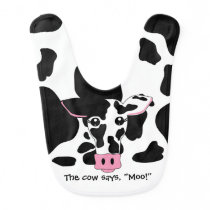 The cow says, Moo! Cow Baby Bib