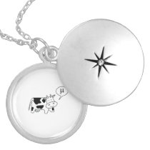 The Cow says Mu Locket Necklace