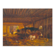 The Cow shed, 19th century Postcard