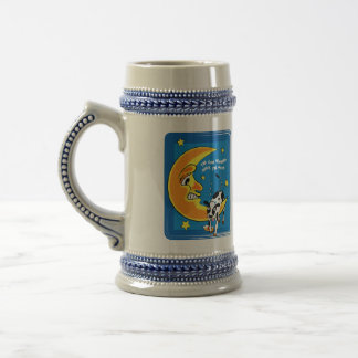 The cow slumped over the moon beer stein