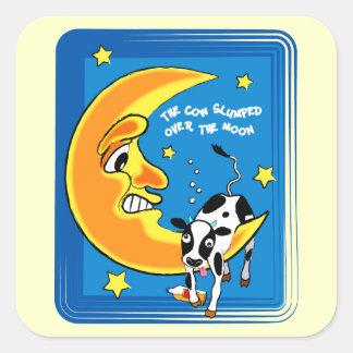 The cow slumped over the moon square sticker