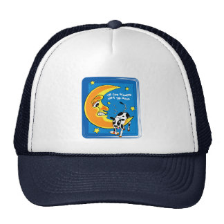The cow slumped over the moon trucker hat