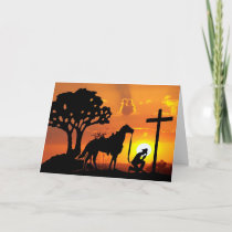 The Cowboy at the Cross Easter Greeting Card Art