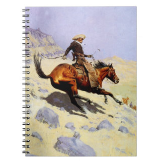 The Cowboy by Remington Vintage American West Art Spiral Note Book