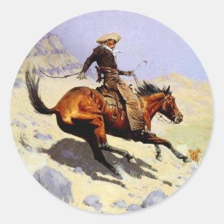 The Cowboy by Remington, Vintage American West Art Round Sticker