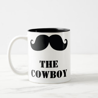 The Cowboy curly mustache funny Two-Tone Coffee Mug