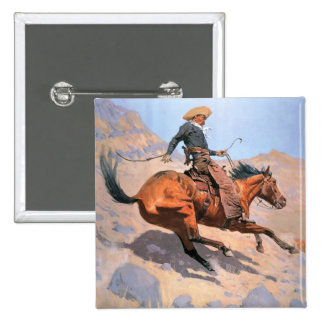 The Cowboy (oil on canvas) 2 Inch Square Button
