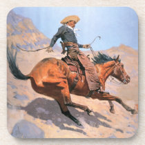 The Cowboy (oil on canvas) Drink Coaster