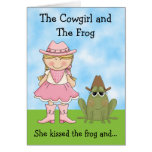 The Cowgirl and the Frog Birthday Card - Blond