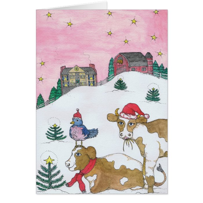 The Cows Come Home For Christmas Card