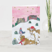 The Cows Come Home For Christmas Holiday Card
