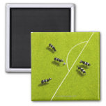 The cows playing soccer 2 inch square magnet