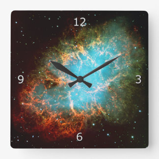 The Crab Nebula in Taurus Square Wall Clock