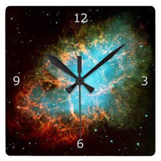 The Crab Nebula in Taurus Square Wall Clock