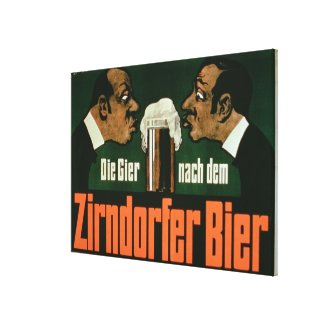 'The Craving for the Zirndurfer Beer' (colour lith Stretched Canvas Print