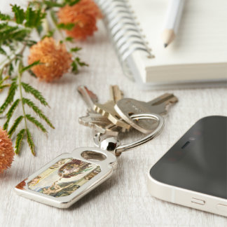 The Creation of Adam by Michelangelo Fine Art Silver-Colored Rectangular Metal Keychain