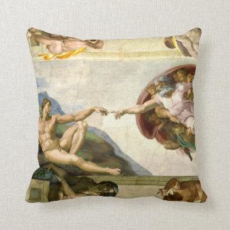 The Creation of Adam by Michelangelo Fine Art Throw Pillow