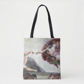 <The Creation of Adam> by Michelangelo Tote Bag