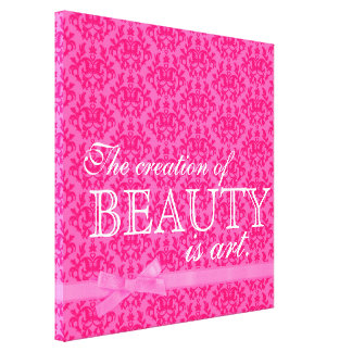 """The creation of beauty is art"" pink bow damask Canvas Print"