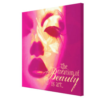 """""""The creation of beauty is art"""" pink face canvas Canvas Print"""