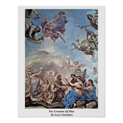 The Creation Of Man By Luca Giordano Poster